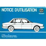 Talbot Solara : Notice d'utilisation